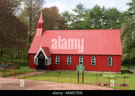 Dalwinton Barony church, a corrugated iron building, the Tin Tabernacle, Dumfries and Galloway, Scotland, Uk - Stock Image
