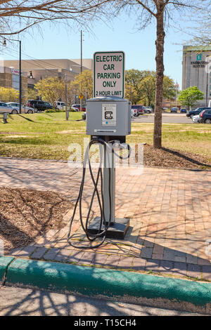 Electric vehicle charging station on the street or curbside in Montgomery, Alabama USA. - Stock Image