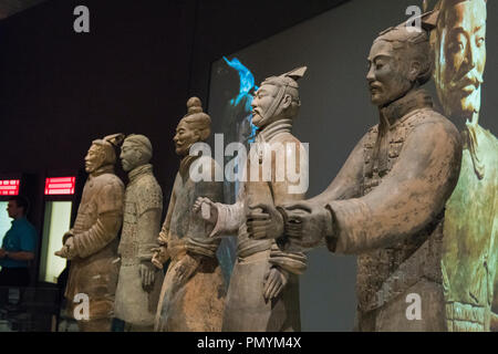 Liverpool William Brown Street World Museum China's First Emperor & The Terracotta Warriors Exhibition group of soldiers Qin Dynasty - Stock Image