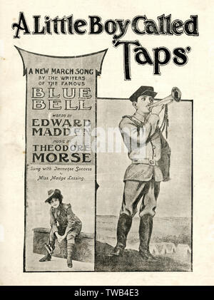 Music cover, A Little Boy Called Taps, a march song, words by Edward Madden, music by Theodore Morse, sung with immense success by Miss Madge Lessing.      Date: 1904 - Stock Image