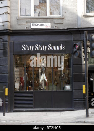 Sixty Sixty sounds Guitar and Amplifier Shop on Denmark Street, London. - Stock Image
