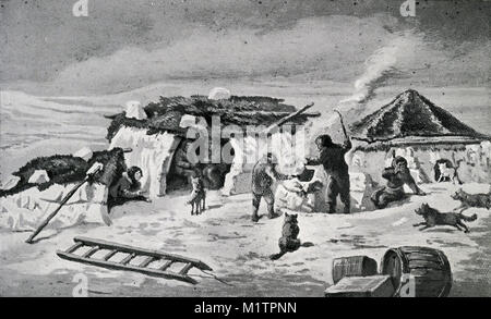 Halftone illustration of an Eskimo camp in the arctic circle, circa 1900. Note the skins on top of the igloos. From - Stock Image