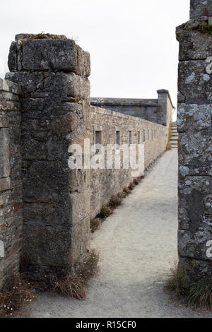 The Battlements Walkway of Ville Close - Stock Image