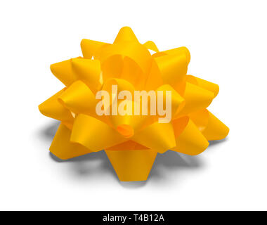 Yellow Gift Bow Isolated on White Background. - Stock Image