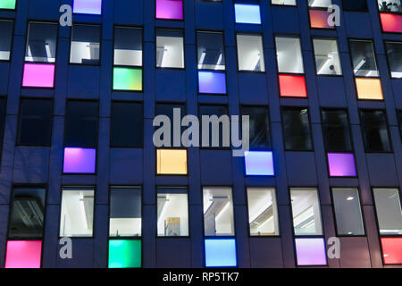 colorful light panels on office building in London, England, UK - Stock Image