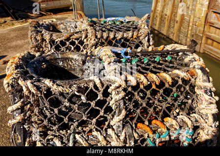 Lobster Pots, Bude Harbour, Cornwall, UK - Stock Image