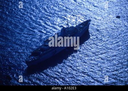 Cruise Liner off Santorini Greece - Stock Image