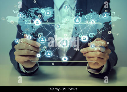 Social networking service concept. Worldwide connection. Mixed media. - Stock Image