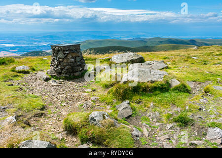 The viewpoint indicator at the summit of Ben Cleuch in the Ochil Hills, Clackmannanshire, Scotland, UK - Stock Image