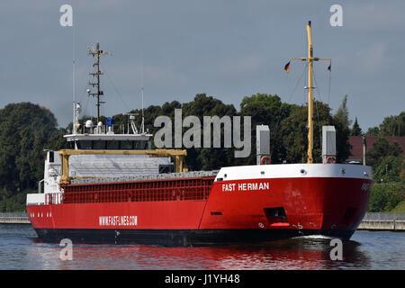 General Cargo Vessel Fast Herman on the Kiel Canal - Stock Image