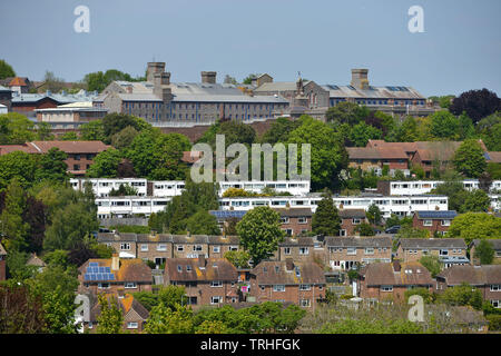 Lewes Prison dominating the skyline of the East Sussex County town - Stock Image
