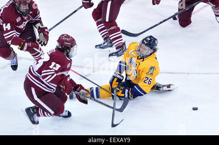 Quinnipiac's Travis St. Denis defends a shot as Umass' Conor Shearey takes the shot during the first period. - Stock Image