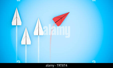 Leadership concept with paper planes: the red plane decides another way. 3D rendering - Stock Image