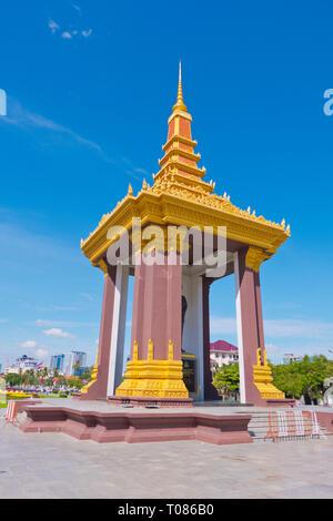 Statue of King Father Norodom Sihanouk, Neak Banh Teuk Park, Phnom Penh, Cambodia, Asia - Stock Image