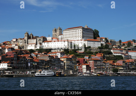 Se Cathedral, Oporto, Portugal viewed from the River Douro - Stock Image