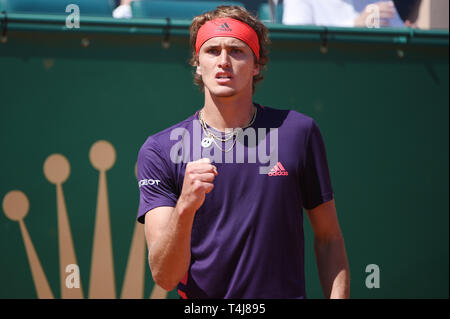 Roquebrune-Cap-Martin, France. 17th Apr, 2019. Alexander Zverev (GER) Tennis : Men's Singles 2nd Round match during Monte Carlo Masters at Monte Carlo Country Club in Roquebrune-Cap-Martin, France . Credit: Itaru Chiba/AFLO/Alamy Live News - Stock Image