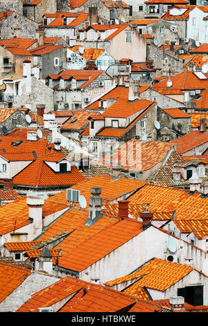 View of rooftops; Dubrovnik, Croatia - Stock Image