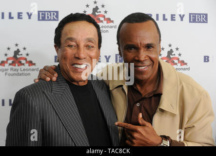 Beverly Hills, USA. 22nd May, 2019. Smokey Robinson and Boxer Sugar Ray Leonard attends Sugar Ray Leonard Foundation's 10th Annual 'Big Fighters, Big Cause' Charity Boxing Night at The Beverly Hilton Hotel on May 22, 2019 in Beverly Hills, California. Credit: The Photo Access/Alamy Live News - Stock Image
