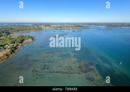 France, Morbihan, Ile-aux-Moines, aerial view of the Gulf of Morbihan and Monk island - Stock Image