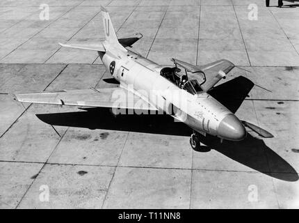 Saab 32 Lansen Swedish Jet Fighter,  a two-seat, transonic military aircraft designed and manufactured by Saab from 1955 to 1960 for the Swedish Air Force. - Stock Image