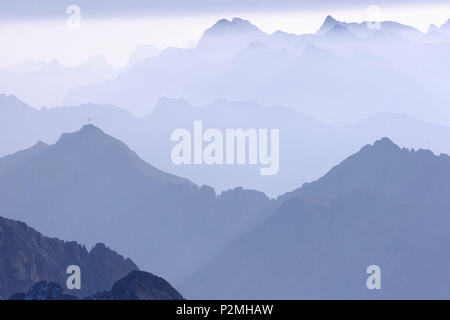Panorama over the Zugspitze and Reintal, Zugspitze, Bavaria, Germany - Stock Image