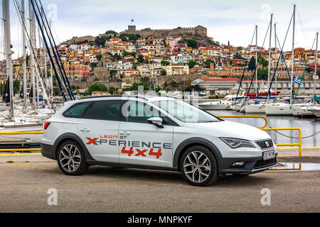 Seat new models cars situated on the coast of Kavala, Greece. Leon Xperience 1.8TSI 4Drive. - Stock Image