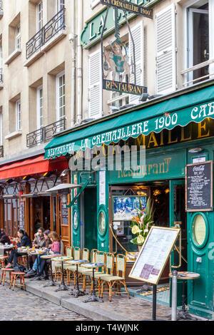Cafes surrounding Place du Tertre, Montmartre, Paris, France - Stock Image