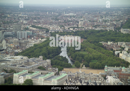 Aerial view of Horse Guards Parade, St James's Park and Buckingham Palace at the end of The Mall in London - Stock Image
