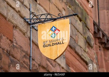 COVENTRY, UK - JULY 26TH 2018: The sign above the entrance to the historic St. Marys Guildhall in the city of Coventry, UK, on 26th July 2018. - Stock Image