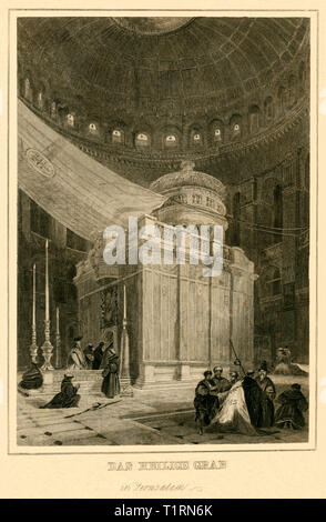 Middle East, Israel, Jerusalem, Inside the Church of the Holy Sepulchre in Jerusalem, steel engraving, around 1836. , Artist's Copyright has not to be cleared - Stock Image