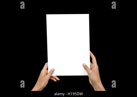 Closeup Blank White Paper Sheet Mockup Holding Female Hands Abstract Black Background - Stock Image