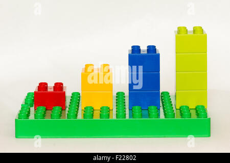 Lego building bricks in different colors over white background. - Stock Image