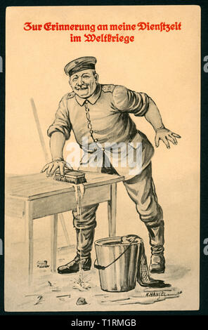 Germany, Saxony, Königsbrück, WW I, propaganda, patriotic artist postcard with the text: 'Zur Erinnerung an meine Dienstzeit im Weltkriege' (in memory of my service in WW I), also there is s drawing of an soldier cleaning a table (barrack room service),  the artist was K. Hänsel, postcard was sent 23. 02. 1916. , Additional-Rights-Clearance-Info-Not-Available - Stock Image