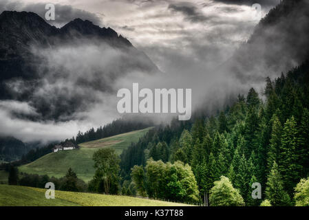 mists in the mountains and the green valley after a summer thunderstorm, Antholzertal - Trentino-Alto Adige - Stock Image