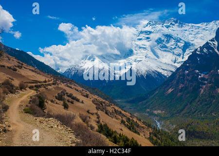 Landscape Snow Mountains Nature Viewpoint.Mountain Trekking Landscapes Background. Nobody photo.Asia Travel Sport.Horizontal - Stock Image