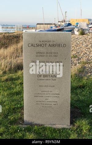 A new memorial unveiled at the site of Calshot Airfield on the 6th June 2014 by the Airfields of Britain Conservation Trust, Hampshire, UK. - Stock Image