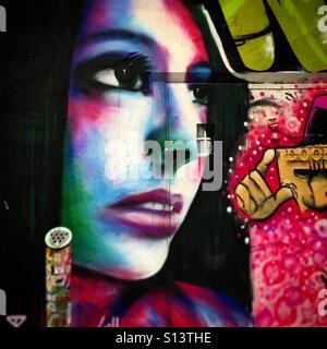 Street art of Lady Gaga in Laneway - Stock Image