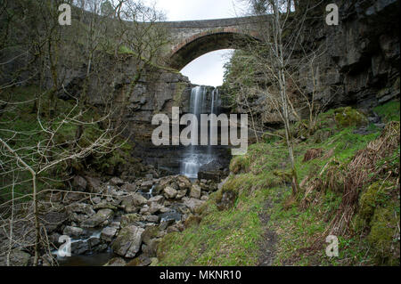 A long exposure image of Ashgill Force Waterfall in Teesdale, North Pennines AONB - Stock Image