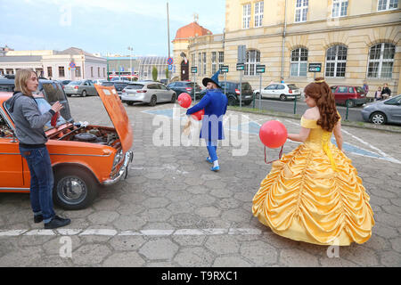 Participants of the 19th edition of the Pyrkon Fantasy Festival, which took place at the Poznan International Fair on April 26-28, 2019, left the fair - Stock Image