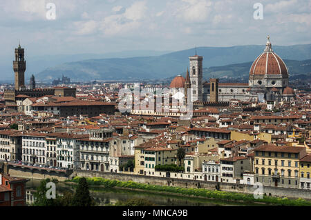 view of the dome cathedral in florence italy from the southern side of the arno river at Piazzale Michelangelo - Stock Image