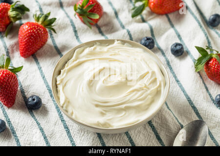 Creamy Homemade Mascarpone Cheese in a Bowl - Stock Image