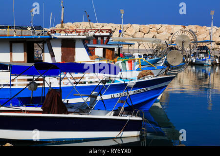 Boats moored in Latchi harbour, Akamas, Cyprus. - Stock Image