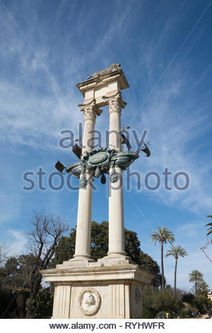 The  caravel  on the monument to Christopher Columbus, Cristóbal Colón in the Gardens of Murillo Seville - Stock Image