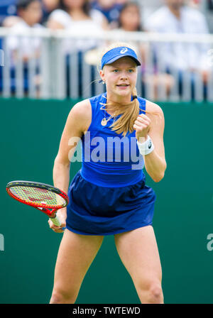 Eastbourne UK 23rd June 2019 - Harriet Dart of Great Britain reacts after winning a point against Anett Kontaveit of Estonia during their first round match at the Nature Valley International tennis tournament held at Devonshire Park in Eastbourne . Credit : Simon Dack / TPI / Alamy Live News - Stock Image