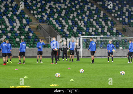 Windsor Park Belfast, Northern Ireland, UK. 20 March 2019. The Estonia squad train at Windsor Park before their opening game against Northern Ireland tomorrow night. Credit: David Hunter/Alamy Live News. - Stock Image