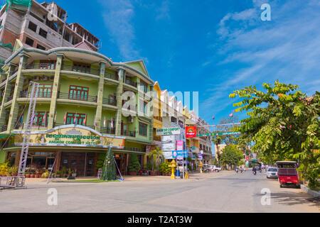 Road nr 1, riverside street, Battambang, Cambodia, Asia - Stock Image