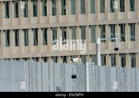 New headquarters of the BND  the Federal Intelligence Service of Germany in Berlin with fence and surveillance cameras. - Stock Image