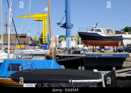 Bootswerft in Laboe, Schleswig-Holstein, Deutschland, Europa.   Boatyard in Laboe, Schleswig-Holstein, Germany, Europe. - Stock Image