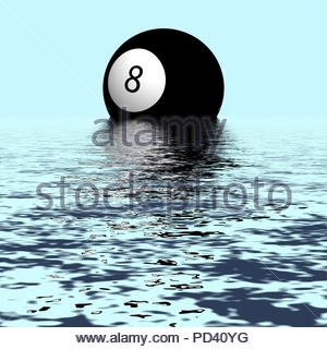 Digital Illustration - Eight ball pool ball rising and reflected in waters. - Stock Image