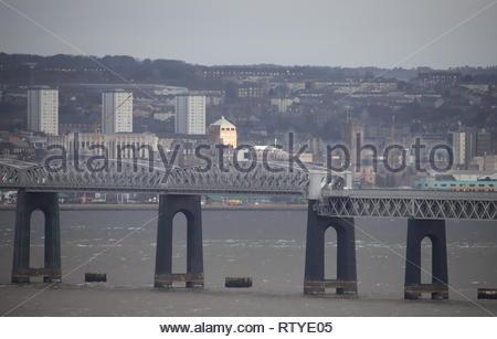 Tay Rail Bridge and Dundee Waterfront Scotland  February 2019 - Stock Image
